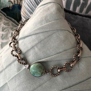 Jewelry - Turquoise Choker. Silver over copper overlay.